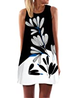 Wintialy Vintage Boho Women Summer Sleeveless Beach Printed Short Mini Dress