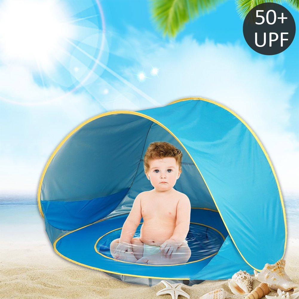 Gentman Baby Beach Tent Pop Up Portable with Shade Pool Summer 50+UPF UV Protection Sun Shelter for Infant and Family