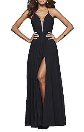 80473f86595 YORFORMALS Women s V-Neck Chiffon Formal Evening Party Gown Long Prom Dress  Side Slit Size