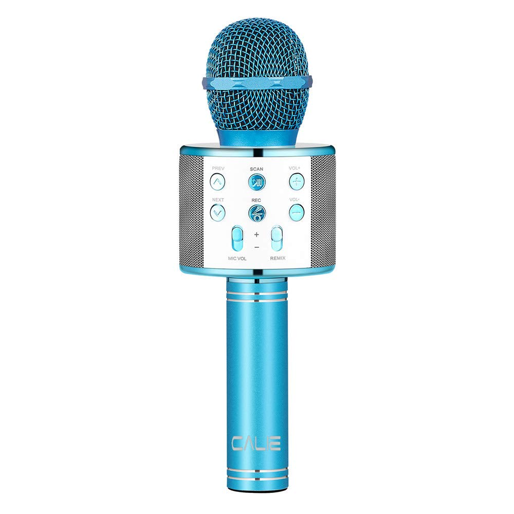 Calie Wireless Karaoke Microphone with Bluetooth Speaker for iPhone Android Smartphone, Portable Handheld Microphone for Singing Recording Interviews Home KTV Party (Blue)