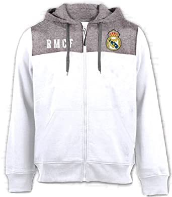 e4e90c8d39355 Sudadera con capucha Oficial Real Madrid CF - Adulto - Blanco Gris ...