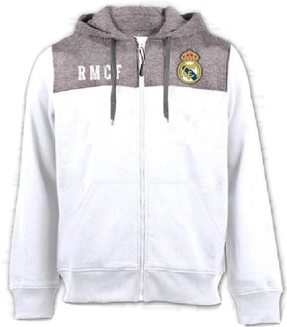 Sudadera con capucha Oficial Real Madrid CF - Adulto - Blanco Gris ... a16dd5bcf8b5c