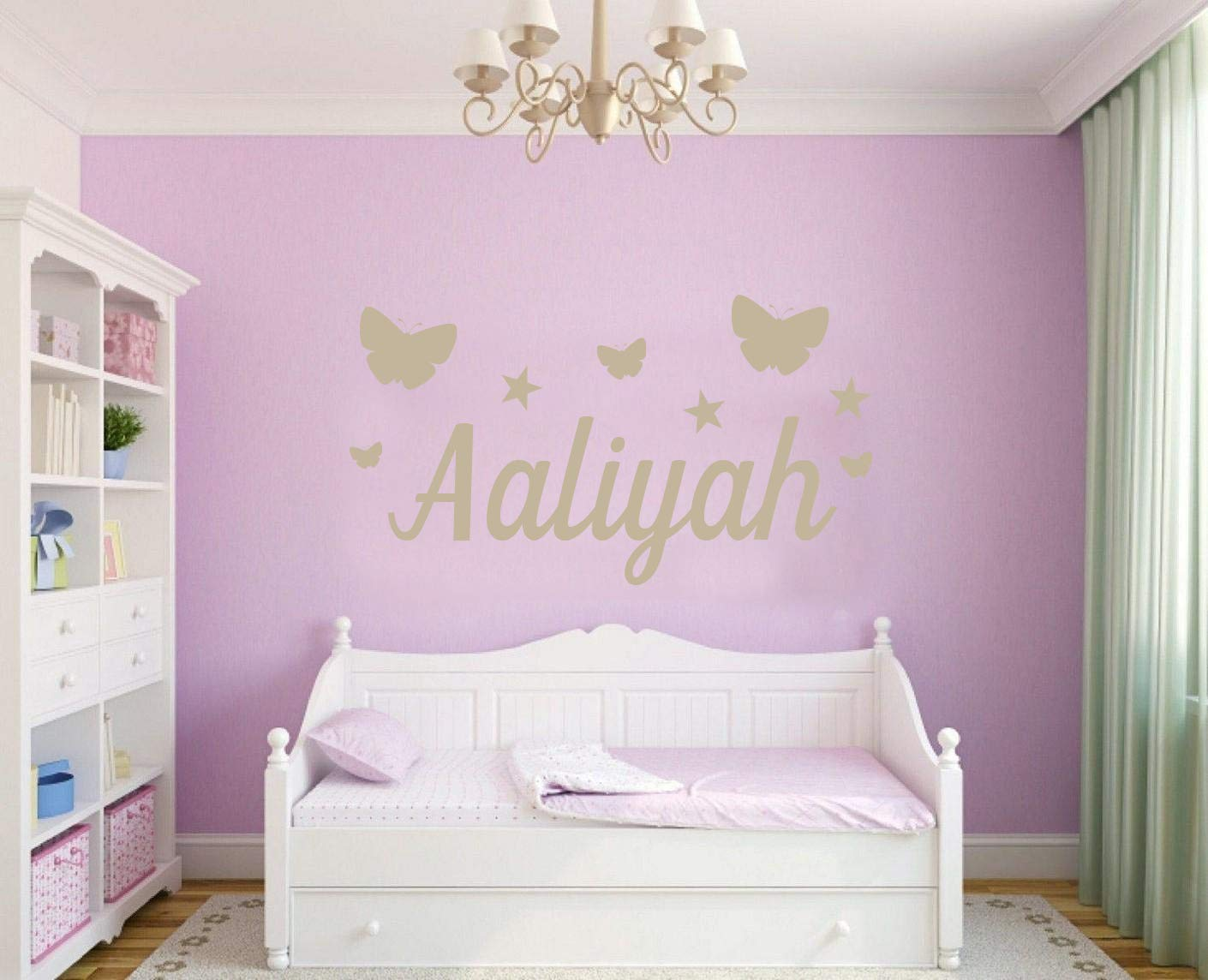 Childs Bedroom Small 50cm x 23cm, Purple Personalised Butterflys and Stars Name Wall Sticker Any Name Any Colour