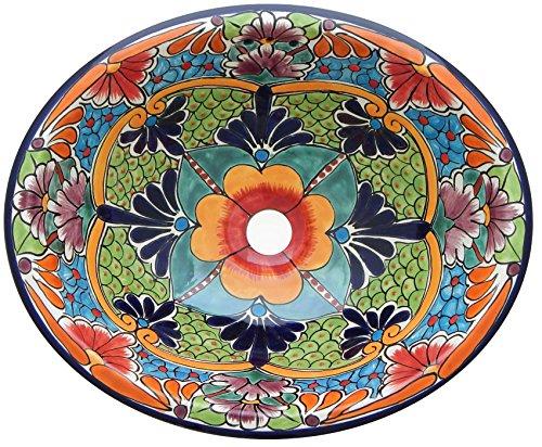 Talavera Mexican Bathroom Sink Handmade Hand Painted Large 21 x 17 -