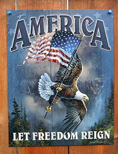 (America - Let Freedom Reign Tin Sign 12 x 16in)
