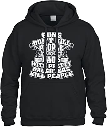 Guns Don/'t Kill People Dads With Daughters Do Father Two Tone Hoodie Sweatshirt