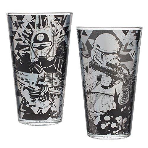 (Vandor 99412 Hans Star Wars Solo Laser Decal Drinking Glasses, 16 Ounce, 2 Piece Set)