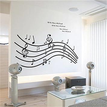 GTNINE Music Melody Vinyl Wall Decals Modern Wall Art Wall Murals Wall  Stickers for Living Room Bedroom Kitchen Wall Decor Home Window Glass