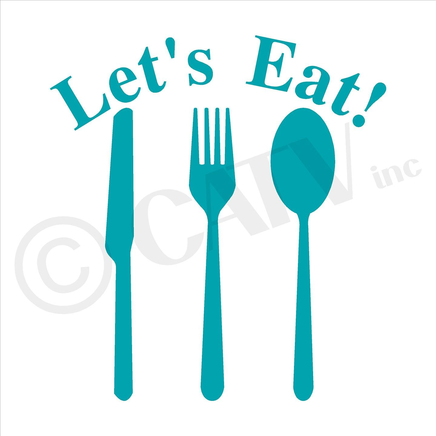 Amazon.com: Let\'s Eat Knife Fork Spoon Vinyl Lettering Wall Decal ...