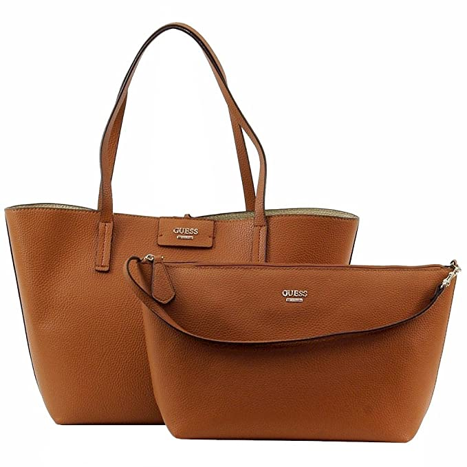 Guess Bobbi en el Interior out Tote (Cognac Multi)