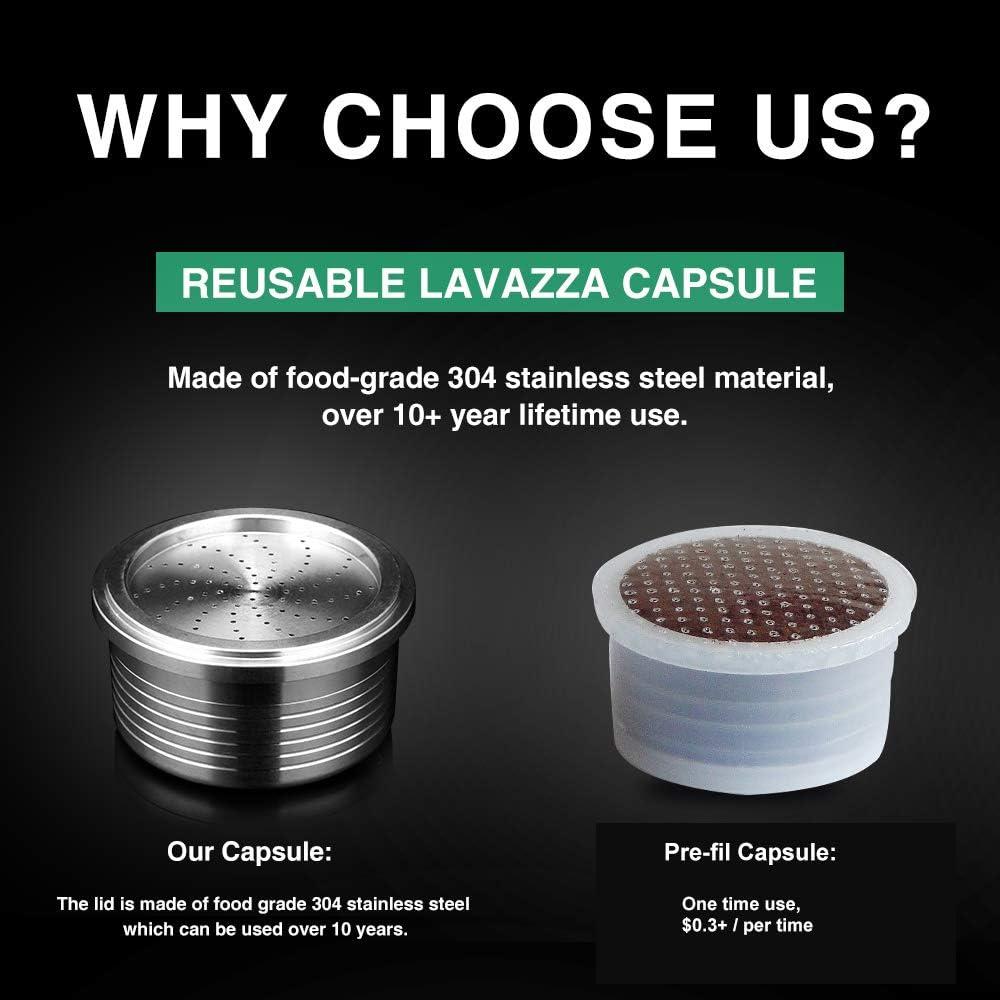 i Cafilas Refillable Reusable Coffee Capsules for Lavazza Blue for Lavazza Espresso Point Capsules Lavazza Blue Coffee Pods Stainless Steel with 1 Spoon 1 Brush