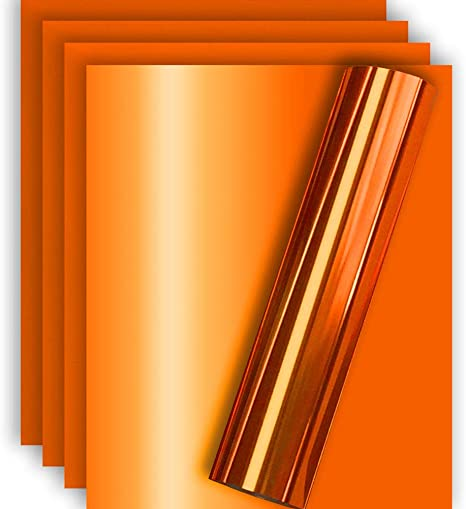 Amazon Com Orange Metallic Foil Htv Heat Transfer Vinyl For Tshirt And Apparel 12 X 10 Pack Of 5 Arts Crafts Sewing