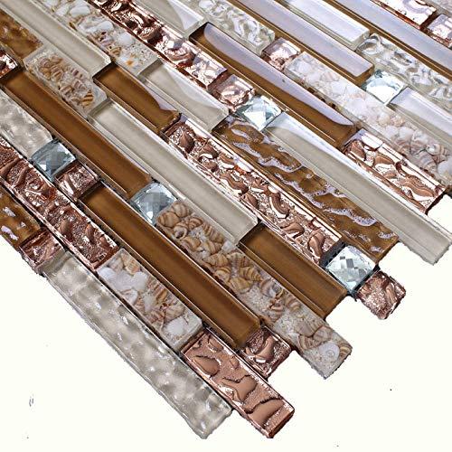 Hominter 11-Sheets Brown and Rose Gold Glass Tile Backsplash, Silver Crystal Rhinestone Mosaic, Kitchen and Bathroom Wall Tiles KS183