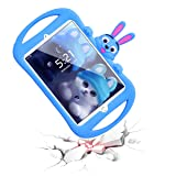 iPad Mini Case for Kids, Dexnor Carton Rabbit Heavy Duty Shockproof Stand Case Safe Soft Waterproof Impact Resistant Protective Rubber Protector Bumper Cover for iPad Mini 1/2 / 3/4 - Blue