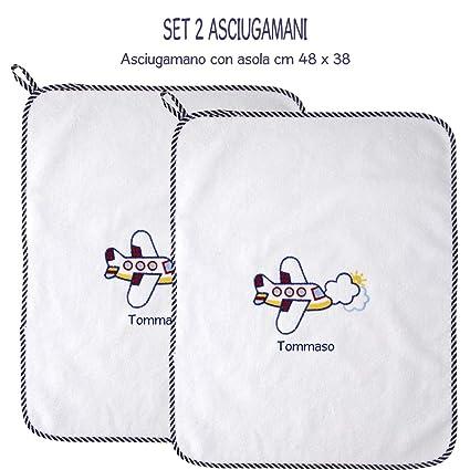 Asciugamani E Bavaglini Personalizzati.Coccole Set Due Asciugamani Con Asola Scuola Materna E Asilo Nido