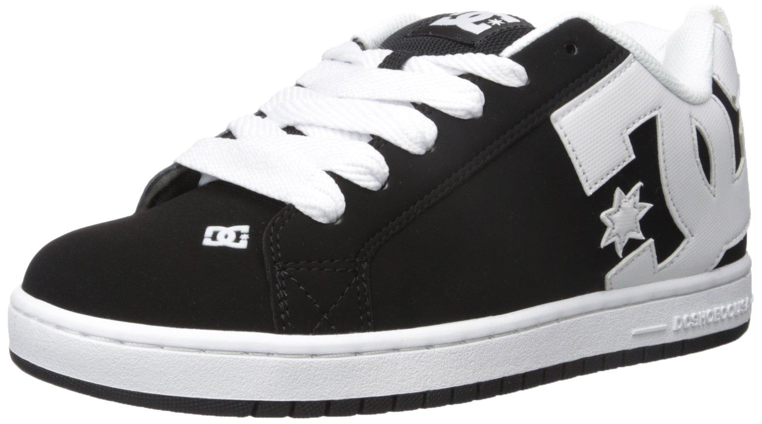 DC Men's Court Graffik Skate Shoe, Black/White/Black, 18 M US