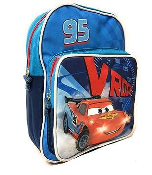 Mochila para Niños de Cars - Bolso Escolar con Bolsillo Frontal con Rayo Mcqueen Disney -