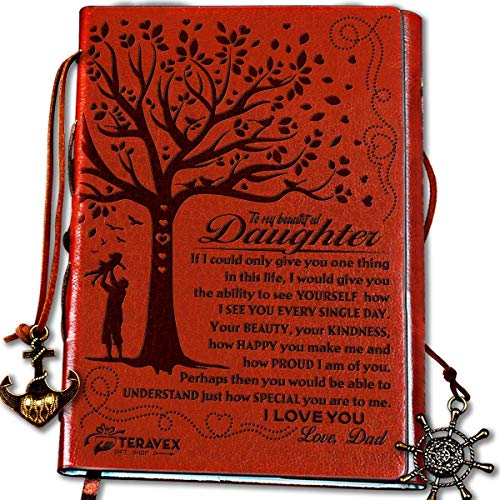 Dad To Daughter Gifts with Inspirational Quotes - Retro Tree of Life Faux Leather Cover Writing Journal, Personal Diary, Lined Journal, Travel, Notebook, Writers Notebook, Refillable for Teen Girls -