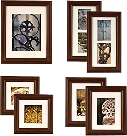 Gallery Perfect 7 Piece Walnut Wood Photo Frame Wall Gallery Kit Walnut Brown Picture Frame Set