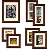 GALLERY PERFECT 7 Piece Walnut Wood Photo Frame Wall Gallery Kit 11FW795. Includes: Frames, Wall Template, Decorative Prints and Hanging Hardware