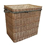 Wicker Willow Extra Large Antique Wash Rectangular Log Basket