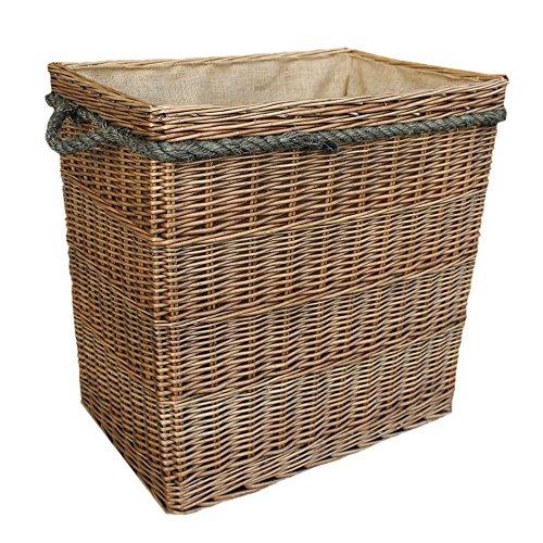 Wicker Willow Extra Large Antique Wash Rectangular Log Basket