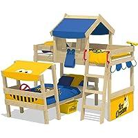 WICKEY Cama de matrimonio CrAzY Trunky Litera Cama infantil 90x200 para 2 niños en diseño oblicuo con somier de madera…