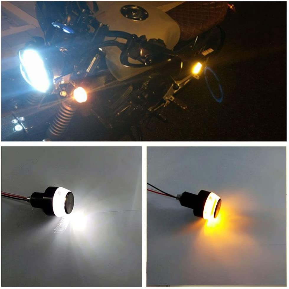 Motorcycle Indicators Turn Signal Lights 2Pack Motorcycle 7//8 Handlebar End 6 LED Amber Turn Signal Brake Lights