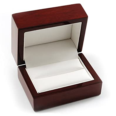 luxury wooden dark brown mahogany wedding ring box - Wedding Ring Box