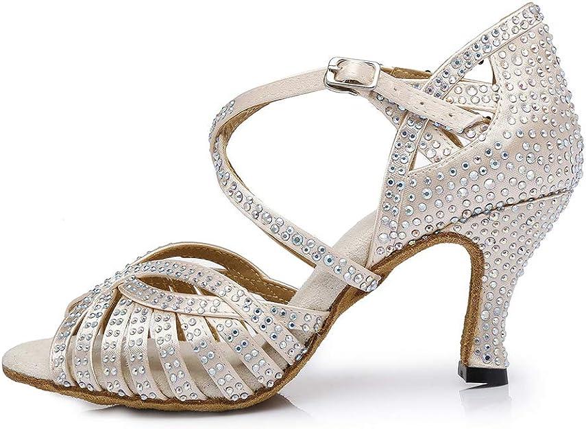 Latin Salsa Bachata Practice Performance Dancer Wedding Dancing Footwear Beige Size WUAILIM Fashion Women Rhinestone Dance Shoes