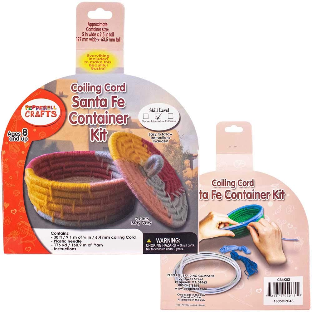 Craft County - Seaside Bowl 1/4 Inch (6.35 MM) Coiling Cord Basketry Kit - 25 Feet (7.6 M) in Length, 120 Yards (109.7 M) of Acrylic Yarn, Plastic Needle, and Illustrated Instructions Included