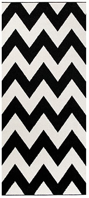 Schon Tapiso LÄUFER BRÜCKE Flur Teppich   Muster Zig ZAG MODERN IN SCHWARZ WEIß  80 X 200