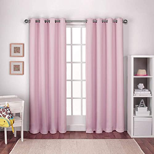 Exclusive Home Curtains Textured Woven Blackout Window Curtain Panel Pair with Grommet Top, 52×96, Bubble Gum Pink, 2 Piece