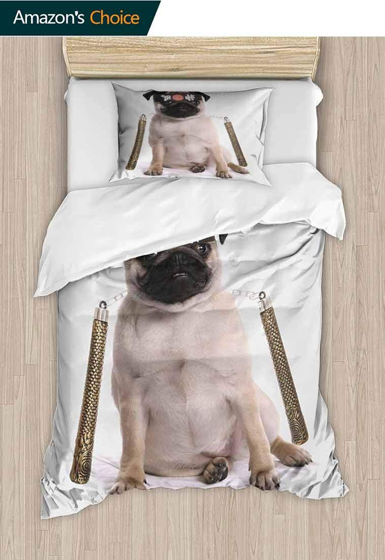 Pug Custom Made Quilt Cover and Pillowcase Set, Ninja Puppy with Nunchuk Karate Dog Warrior Inspired Costume Pug Image, Decorative 2 Piece Bedding Set with 1 Pillow Sham, 79 W x 90 L Inches
