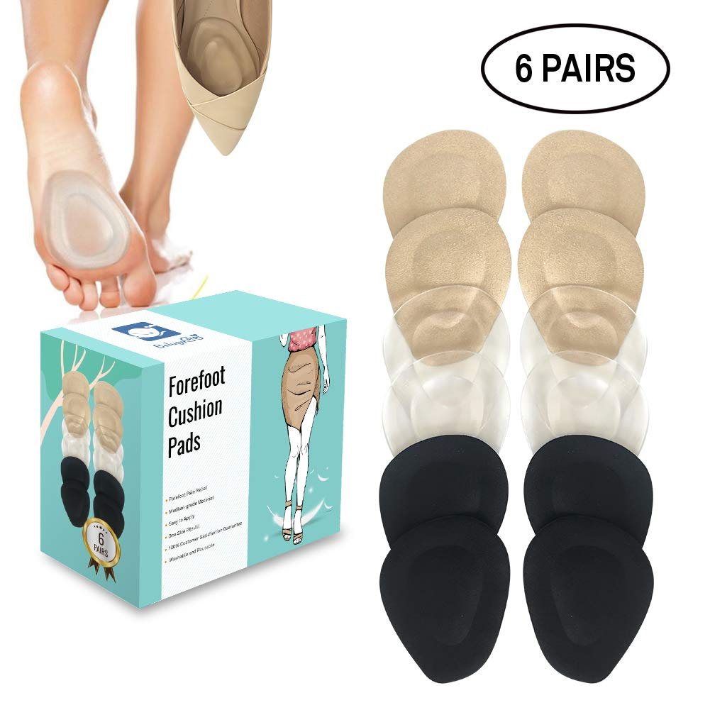 (12 Pieces) Metatarsal Pads for Women High Heels | Ball of Foot Cushions 6 Pairs Foot Pads | Shoe Cushion Inserts for Pain Relief from Neuroma, Callus, and Bunions by BelugaCare