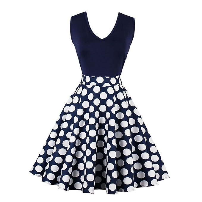 jinjiachenglt New New Vintage Dress Summer Female Knee Length Patchwork Polka Dots Elegant Party Dress Retro