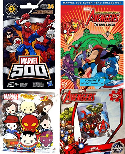 Marvel Avengers Assemble collection animated series + Jigsaw puzzle / 500 series 3 blind bag mini figure + Blind Bag Foam Character Keychain Series 8 Mystery