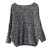Clearance Sale ! Loose Sweater , Teresamoon Women Hollow Out Top Jumper Pullovers (Free Size, Dark Grey)