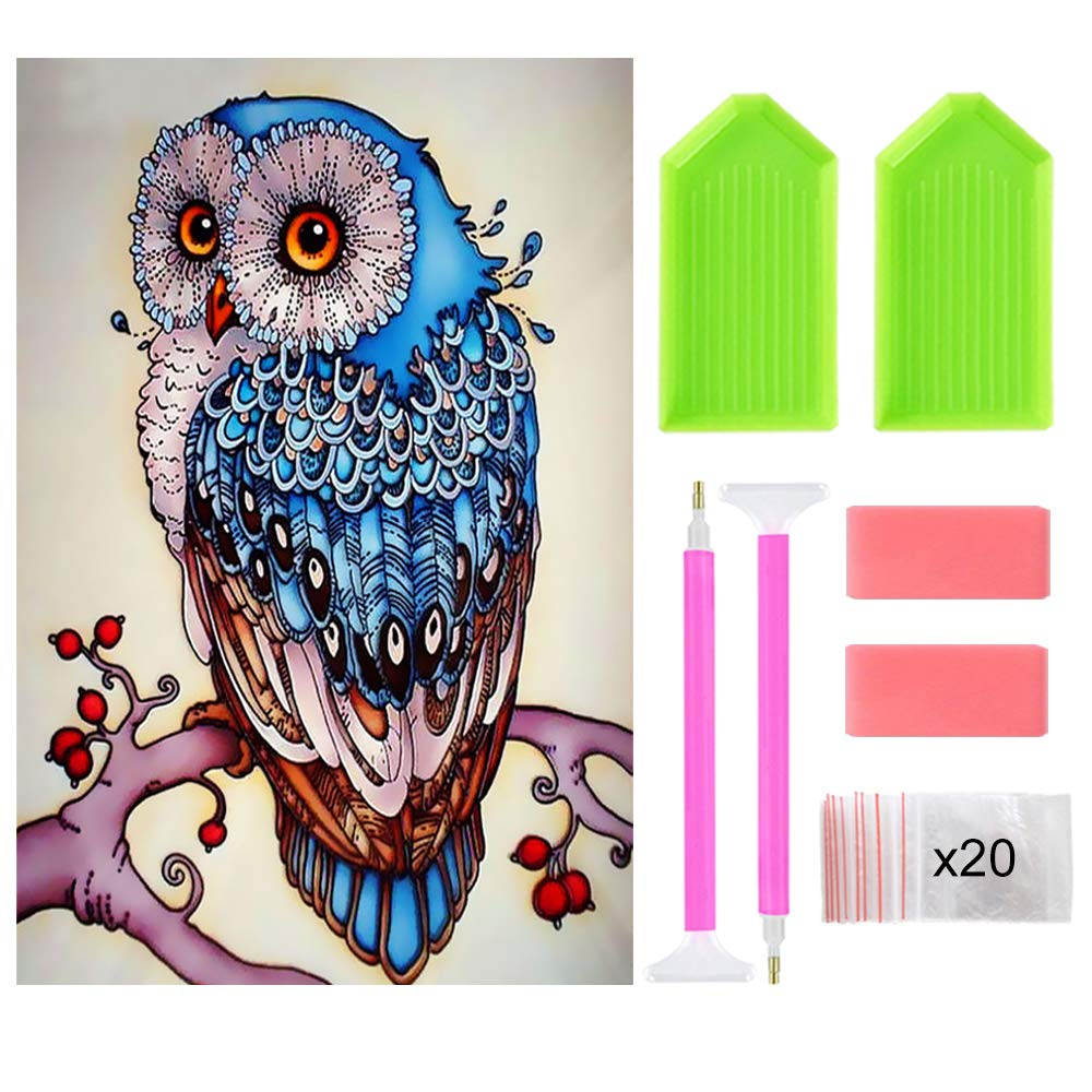 Ispeedy 15.75x19.69in 5D Full Owl Diamond Painting Kits Embroidery Rhinestone Cross Stitch Arts Craft for Adults Children with Tools Kits for Home Wall Decor