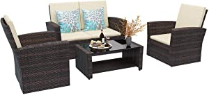 YITAHOME 5 Piece Patio Furniture Sets, All-Weather Outdoor Patio Conversation Set, PE Rattan Wicker Small Sectional Patio Sofa Set with Table, Brown
