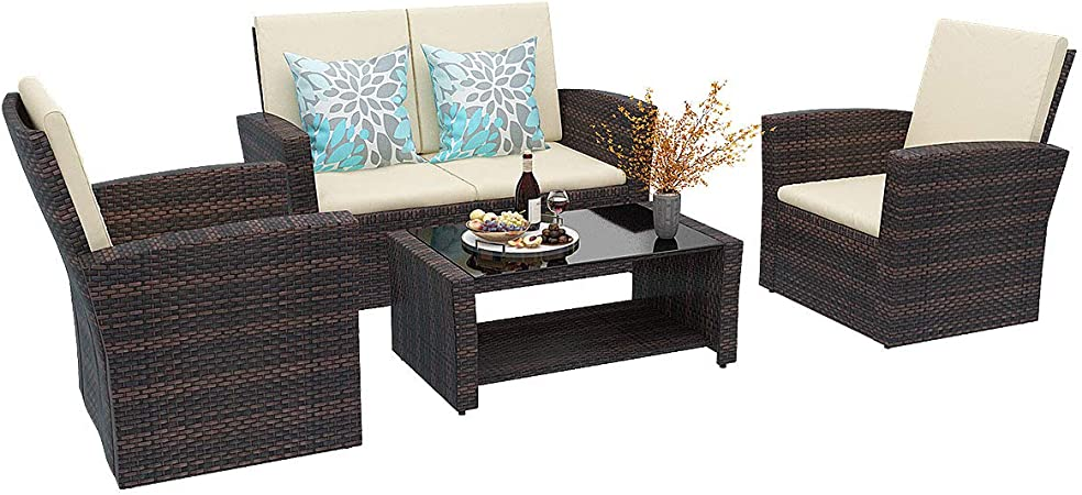 Amazon Com Yitahome 5 Piece Patio Furniture Sets All Weather Outdoor Patio Conversation Set Pe Rattan Wicker Small Sectional Patio Sofa Set With Table Brown Garden Outdoor