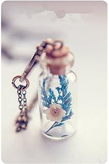 Glass Bottle Pendants Amazon glow in the dark glowing star light glass bottle flower necklaceglass vial necklacedried flowers bottle necklace glass bottle pendant audiocablefo