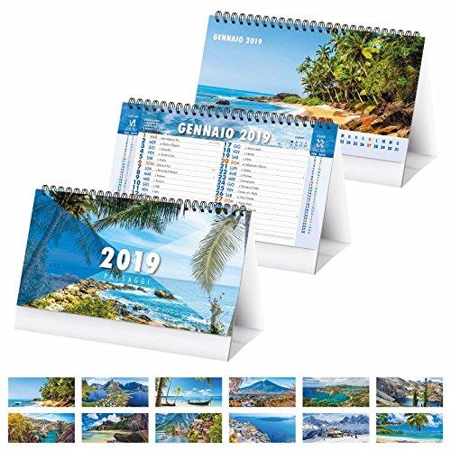 Calendario da tavolo triangolare spiralato 2019 (19x15) paesaggi Agendepoint.it