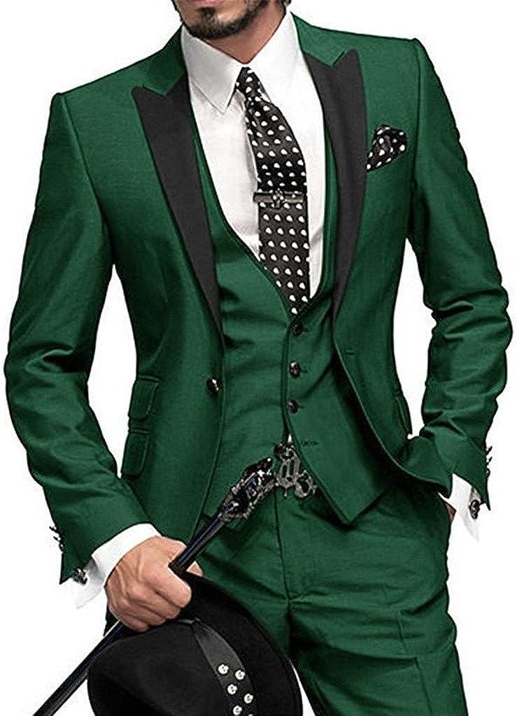 UMISS Men's 3 Pieces Suit One Button Peak Lapel Jacket & Pants & Vest Green
