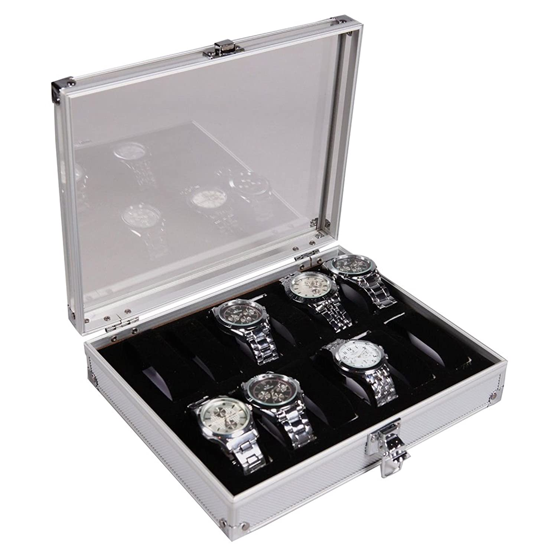 Kobwa (TM) アルミニウム12時計表示ケースボックス腕時計ショーケースwith Kobwa 's Keyring B015SLFP78