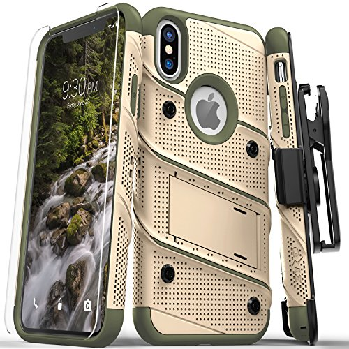 Zizo Bolt Series Compatible with iPhone X Case Military Grade Drop Tested with Screen Protector, Kickstand and Holster iPhone Xs TAN CAMO - Case Tan Desert