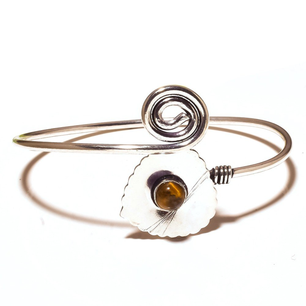 Gift Jewelry Brown Tiger Eye Sterling Silver Overlay 13 Grams Bangle//Bracelet Free Size