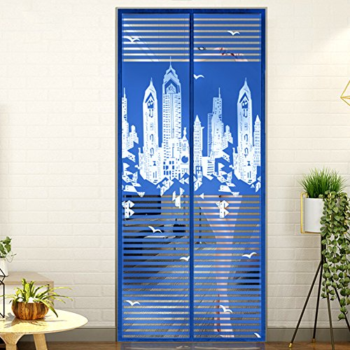 Aik@ Privacy Protection Magnetic Screen Door,Anti-mosquito Mesh Curtain Easy To Install Full Frame Velcro Easy To Remove Home-blue 100x205cm(39x81inch)
