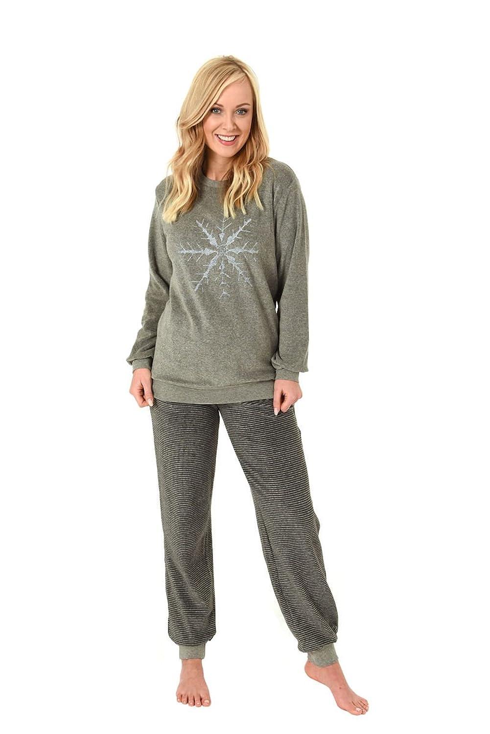 000d7973cd Damen Polar Frottee Pyjama Schlafanzug Rundhals Bündchen Ausgang