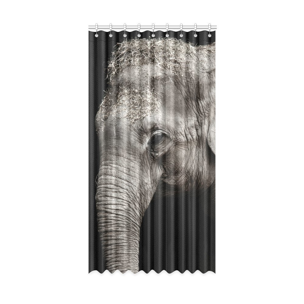 Happy More Custom Animal Elephant Polyester Home Decorative Window Curtain 52x63 inch(One Piece)